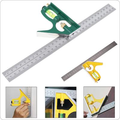 12 Inch 300mm Adjustable Combination Square Angle Ruler 45 / 90 Degree With Bubble Level Multi-functional Measuring Tools
