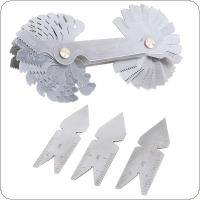 4pcs/set Screw Thread Pitch Cutting Gauge Tool Set Centre Gage with 55° & 60° Inch & Metric