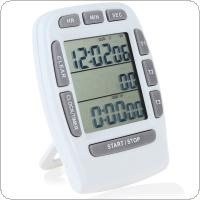 3-Line LCD Triple Display Digital Countdown Stopwatch + Clock for Kitchen Cooking Tools