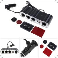 4 Way Multi Socket Car Charger Vehicle Cigarette Lighter Splitter Dual USB Ports Plug Adapter