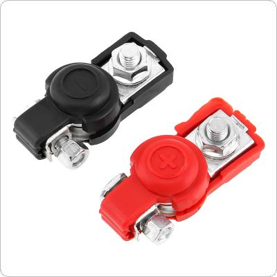 1 Pair Alloy Adjustable Positive Nagative Car Battery Terminal Clamp Clips Connector with Plastic Covers