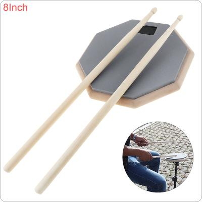 8 Inch Rubber Wooden Dumb Drum Practice Training Drum Pad with Drum Sticks
