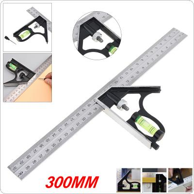 12 Inch 300mm Adjustable Stainless Steel Combination Angle Ruler 45 / 90 Degree With Bubble Level Multi-functional Measuring Tools