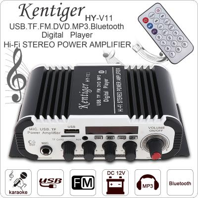 KentigerV11 2CH HI-FI Bluetooth Car Audio Power Amplifier FM Radio Player Support SD / USB / DVD / MP3 Input for Car Motorcycle Home
