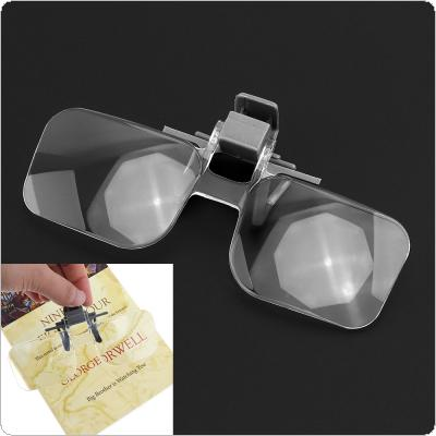 2X Acrylic Lens + ABS Portable Gripping Glasses  Magnifier with Black Bag for Reading / Stamp Collecting