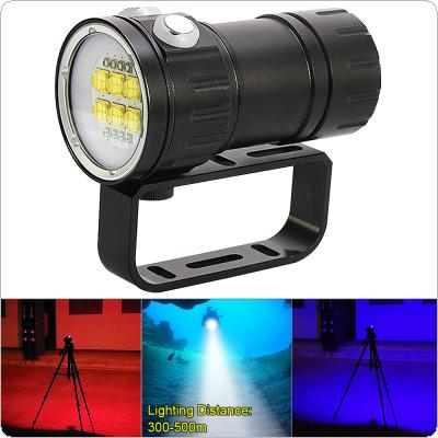 QH14 300W 28800 Lumens  Six 9090 White XML2 + Four XPE Red R5 + Four XPE Blue R5 LED Underwater 80m Scuba Diving Canister Light with 7 Modes Flashlight