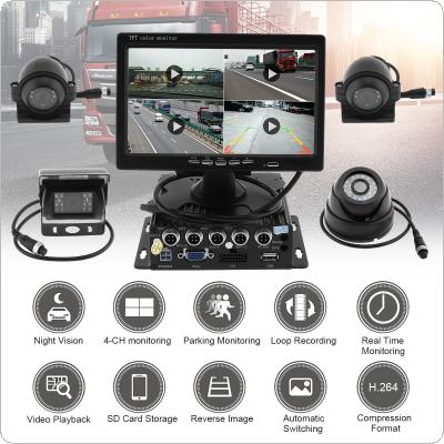 7 Inch Quad Split Screen Monitor 4x Side Rear View CCD Camera System for Truck RV