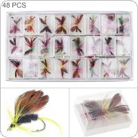 48pcs/lot Fly Fishing Lure Colorful Feather Simulation Dry Fly Butterfly Bait