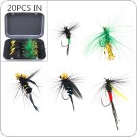 20pcs/lot Fly Fishing Lure Set Colorful Feather Simulation Fly Flies Bait with Box