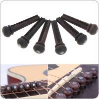 6pcs Rose Wood Bridge Pins with Pearl Shell Head Strings Nail Pegs Set for Folk Acoustic Guitar