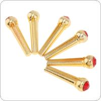 6pcs Pure Copper Brass Bridge Pins with Red Crystal Head Strings Nail Pegs Set for Folk Acoustic Guitar