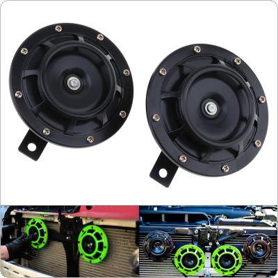 2pcs 12V Black / Green Super Loud Grille Mount Trumpet Compact Electric Blast Dual Tone Horn for Car / Motorcycle