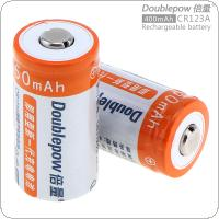 Doublepow 2pcs 3.0V 450mAh CR 123A LiFePo4 Li-ion Rechargeable Battery with 10A Discharge Current for Flashlights / Toys