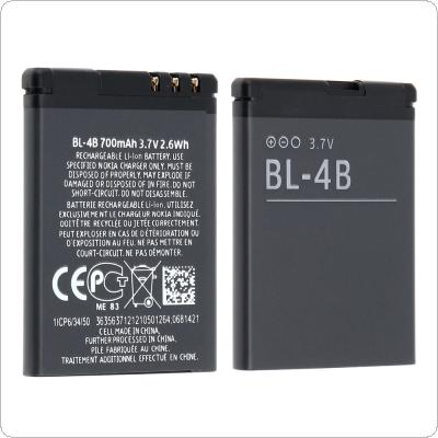 BL-4B 3.7V 700mAh Phone Built-in Rechargeable Li-ion Replacement Battery with Battery Cells PTC Protection for Nokia 2630 7373 N75 N76 6111 5000 7070 7500 2660
