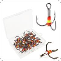 40pcs High Carbon Steel Treble Fishing Hooks 4# 6# 8# 12# Rainbow Ice Fishing Hooks with Box