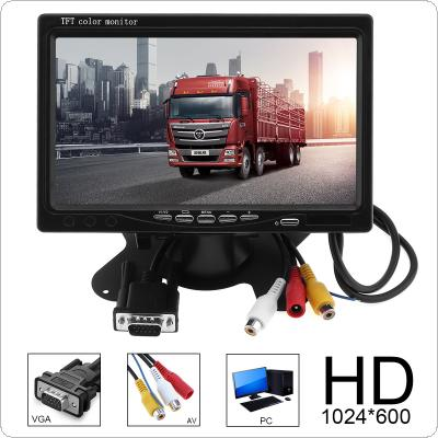 1024x600 7 Inch Multifunction Bright Color VGA Interface TFT LCD AV Car Home Monitor