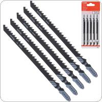 5pcs/set T344D 130mm High-carbon Steel Reciprocating Jig Saw Fast-Cutting Saw Blade for Wood / Board / Plastic Cutting