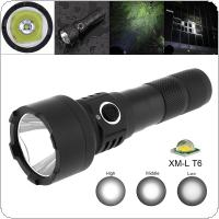 TC15 10W Super Bright T6 LED 1100 Lumens Aluminum Alloy Waterproof Flashlight with 5 Modes Lights Support 18650 Rechargeable Battery for Camping
