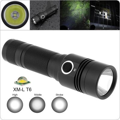 TC14 10W Super Bright T6 LED 1100 Lumens Aluminum Alloy Waterproof Flashlight with 4  Modes Lights Support 18650 Rechargeable Battery for Camping