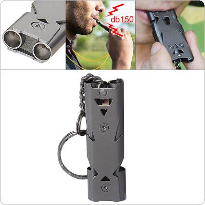 Gray 150dB Stainless Steel Emergency Survival Whistle Hiking Camping Outdoor Sports Tools with Keychain and Double Tube for Outdoor/Camping/Hiking