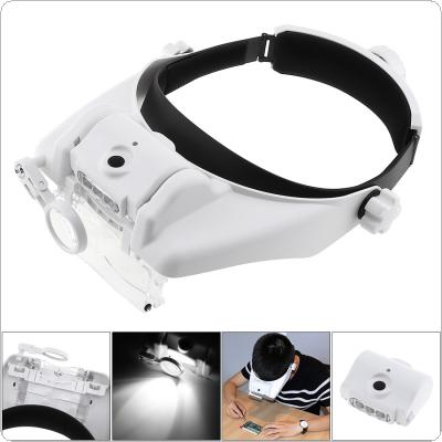11.5X 6 Amplification Ratio Adjustable Rechargeable Headband Eyeglass Magnifier with 3 LED Lights and USB Cable for Reading / Drawing