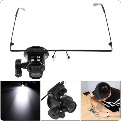 20X Adjustable Glasses Type Single Lens Magnifier with LED Light for Antique Identification / Watch / Electronics Repair