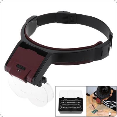 6X 10 Amplification Ratio Adjustable Interchangeable Lens Headband Eyeglass Magnifier with LED Lights and 4 Lens for Reading Books