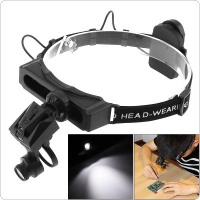 28X Portable 6 Amplification Ratio Adjustable Interchangeable Lens Headband Eyeglass Magnifier with LED Lights and 3 Lens for Repairing / Reading