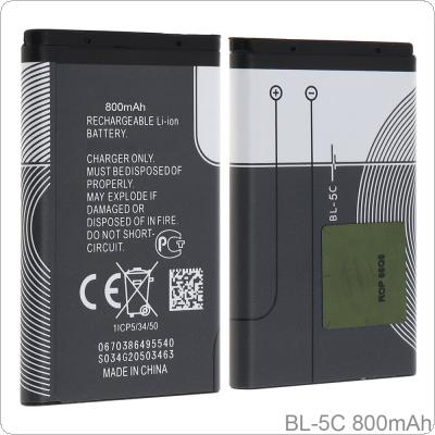 BL-5C 3.7V Actual Capacity 800mAh Phone Built-in Rechargeable Li-ion Replacement Battery with Battery Cells PTC Protection for Nokia 3100 N70 N72 N91 5130