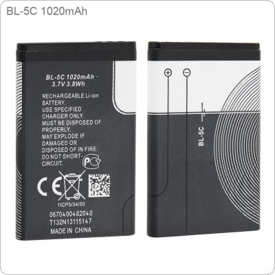 BL-5C 3.7V Actual Capacity 600mAh Phone Built-in Rechargeable Li-ion Replacement Battery with Battery Cells PTC Protection for Nokia 3100 N70 N72 N91 5130