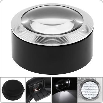 5X 68mm Desktop Cylinder Type K9 Optical Lens Magnifier with 3 LED Lights and  Black Bag for Antique Viewing / Reading / Jewelry Identification