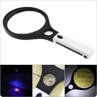 3X /10X  138 / 30MM  Handheld Racket Type Acrylic Optics Magnifier with 4 LED Lights and UV Light for Antique Appreciation / Reading