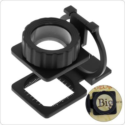 20X 28mm Portable Mini Tri-Folding Scale Zinc Alloy Detection Desktop Glass Magnifier for Repairing and Inspection