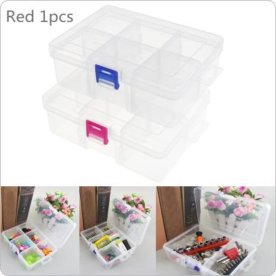 Red Buckle Large 6 Grid Transparent Plastic Detachable Storage Box Hardware Box Jewelry Case Assortment Box with Lid
