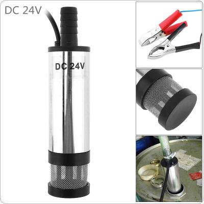 DC 24V 38MM Silver Portable Aluminum Alloy Car Electric Submersible Pump Fuel Water Oil Barrel Pump with 2 Alligator Clips