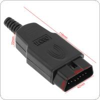 OBD-II DIY 16Pin Male Extension Opening Cable Car Diagnostic Interface Connector PLug with SR Shell and Screw
