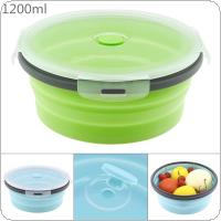 1200ML Portable Circular Silicone Scalable Folding Lunchbox Bento Box with Silicone Sealing Plug for - 40 Degrees ~ 230 Degrees
