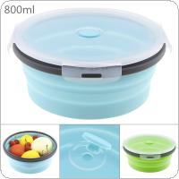 800ML Portable Circular Silicone Scalable Folding Lunchbox Bento Box with Silicone Sealing Plug for - 40 Degrees ~ 230 Degrees