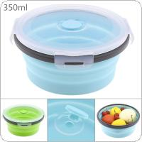 350ML Portable Circular Silicone Scalable Folding Lunchbox Bento Box with Silicone Sealing Plug for - 40 Degrees ~ 230 Degrees
