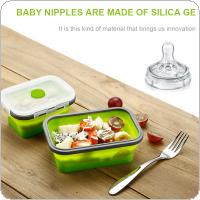800ML Portable Rectangle Silicone Scalable Folding Lunchbox Bento Box with Silicone Sealing Plug for - 40 Degrees ~ 230 Degrees