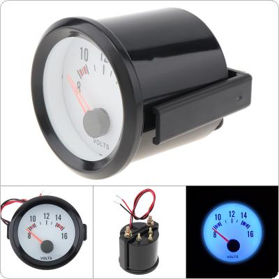 "6037BL  2"" 52mm 8-16V Blue LED Voltage Meter Gauge Voltmeter with Sensor for  Car / Boat / Truck / ATV"