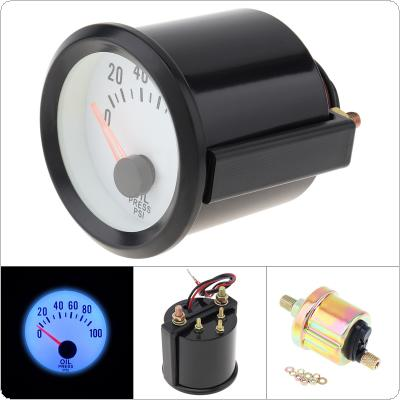 "6036BL  2"" 52mm 12V Blue LED 0~100PSI Oil Pressure Gauge Meter with Sensor for Car / Boat / Truck / ATV"
