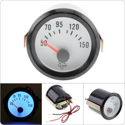 "6035BL  2"" 52mm Blue LED 12V  50~150 Celsius Degree Oil Temperature Meter Gauge with Sensor for Car / Boat / Truck / ATV"