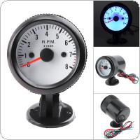 "8020BL  2"" 52mm 12V Blue LED 0~8000RPM Tachometer Tach Gauge Meter with Sensor for Car / Boat / Truck / ATV"