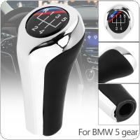 5 Speed ABS Plastic + Leather Chrome Silver Manual Car Gear Shift HandBall Knob Fit for BMW 1 / 3 / 5 / 6 Series / 5 Gear Models