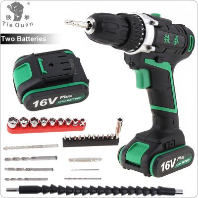 100 - 240V Cordless 16V Plus Electric Drill with 2 Lithium Batteries and 29pcs Accessories Set for Handling Screws / Punching