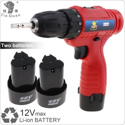 AC 100 - 240V Cordless 12V Electric Drill / Screwdriver with 2 Li-ion Batteries and Rotation Adjustment Switch for Handling Screws / Punching
