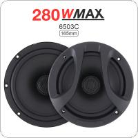 "2pcs 6.5"" Inch 280W 2 Way Car Coaxial  Auto Audio Music Stereo Full Range Frequency Hifi Speakers Non-destructive Installation"