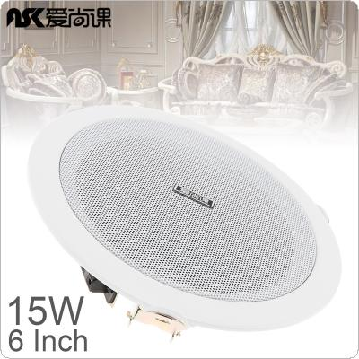 ASK-630 6 Inch 15W Fashion Microphone Input USB MP3 Player Ceiling Speaker Public Broadcast Background Music Speaker for Home / Supermarket / Restaurant