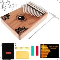 17 Key Kalimba Solid Mahogany Thumb Piano with Flowers Pattern Mbira Natural Mini Keyboard Instrument